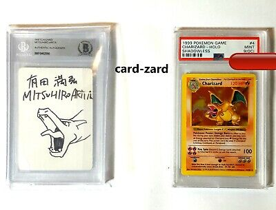 SIGNED PSA 9 OC MINT CHARIZARD SHADOWLESS BASE 1999 HOLO CARD #4 Off Center