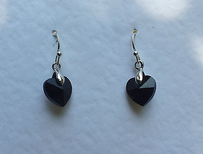 SMALL HEART DROP EARRINGS FACETED BLACK GLASS SILVER PLATED FITTINGS