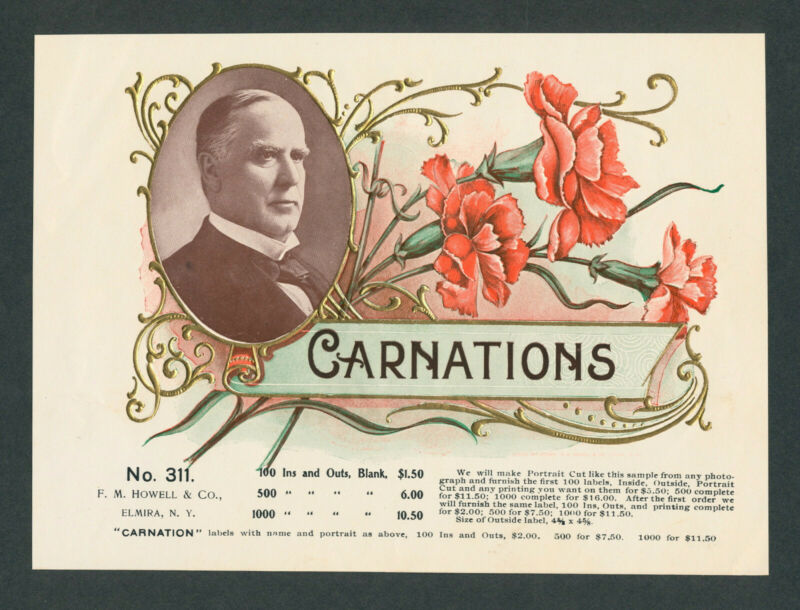 President William McKinley & Lucky Carnation Antique Cigar Box Label Vintage Art