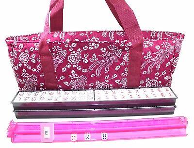 166 Tile American Mahjong Set Violet Red Phoenix Soft Bag 4 Color Pushers/Racks