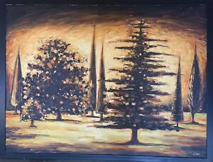 Original oil & mixed media painting, trees, garden, black, sunset Mona Vale Pittwater Area Preview