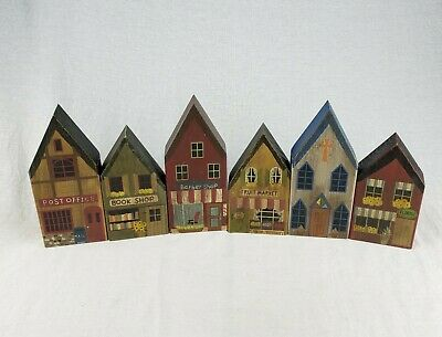 Vintage Set of 6 Wooden Decoration Houses Buildings Village Rustic Trains Xmas
