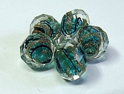 """HANDMADE LAMPWORK FACETED GLASS  BEADS, """"TEAL AND GOLD SAND """" ENCASED"""