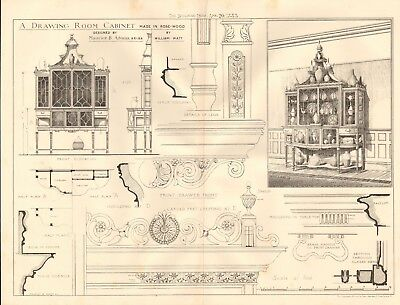 1883 ANTIQUE ARCHITECTURE, DESIGN PRINT- DRAWING ROOM CABINET MADE IN ROSE WOOD