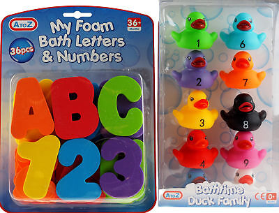 Set Of 2 Foam Bath Letters Numbers And Ducks - Toys for 36 months +