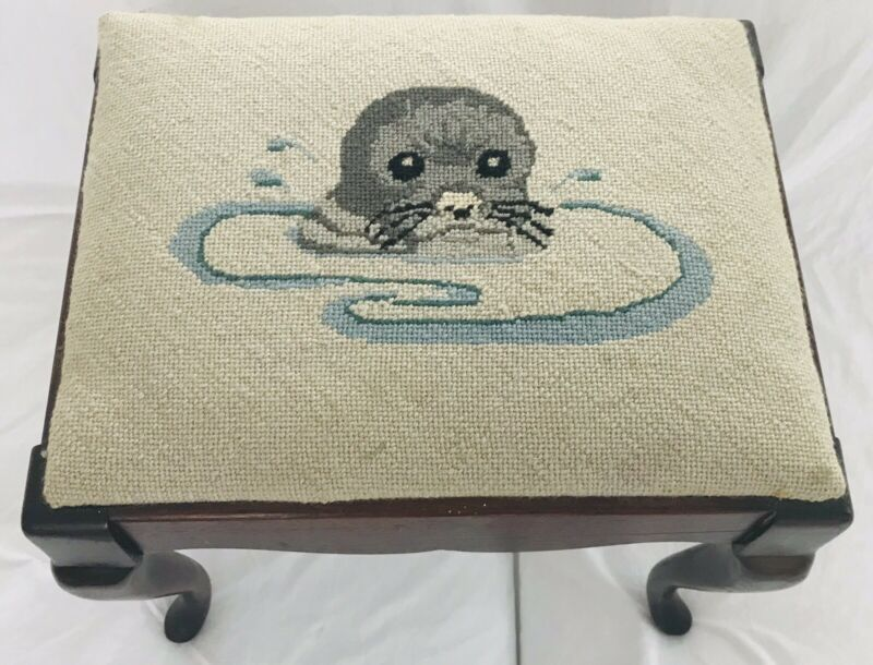 "Vtg Needlepoint Seal Otter Embroidered13.5"" Foot Stool Antique Tapestry Ottoman"