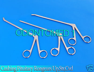 3 Assorted Cushing Pituitary Rongeurs 5 2mmupstrdown Ent Surgical Instrument