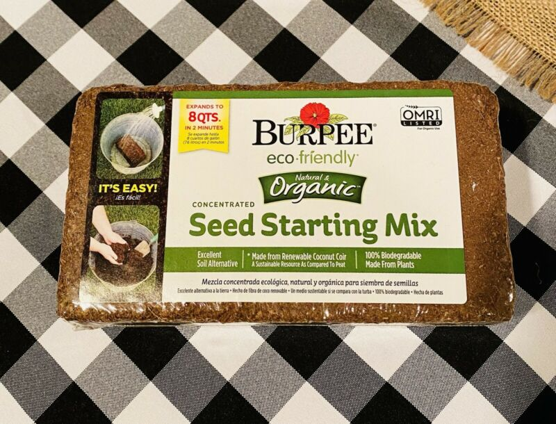 Seed Starter Soil Burpee Organic Concentrated 1lb Brick Expands To 8 QTS