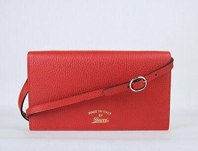 3f9b84caeaf Gucci Women s Red Swing Leather Crossbody Clutch Wallet 368231 6523