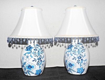 "LAMPS A PAIR OF 14""H CERAMIC BLUE FLORAL ASIAN THEMED GINGER JAR DRESSER LAMPS"