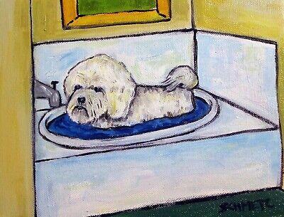 BICHON FRISE bath picture dog  art print 8x10 Bichon Frise Dog Art