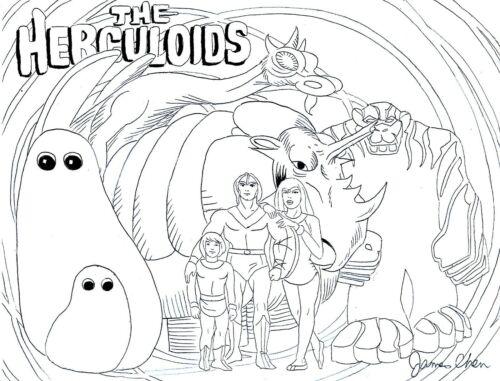 THE HERCULOIDS TV SHOW ORIGINAL COMIC  ART ON CARD STOCK BY ARTIST JAMES CHEN