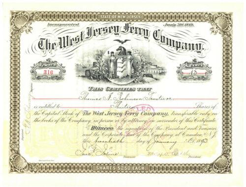 West Jersey Ferry Company. Stock Certificate. 1893