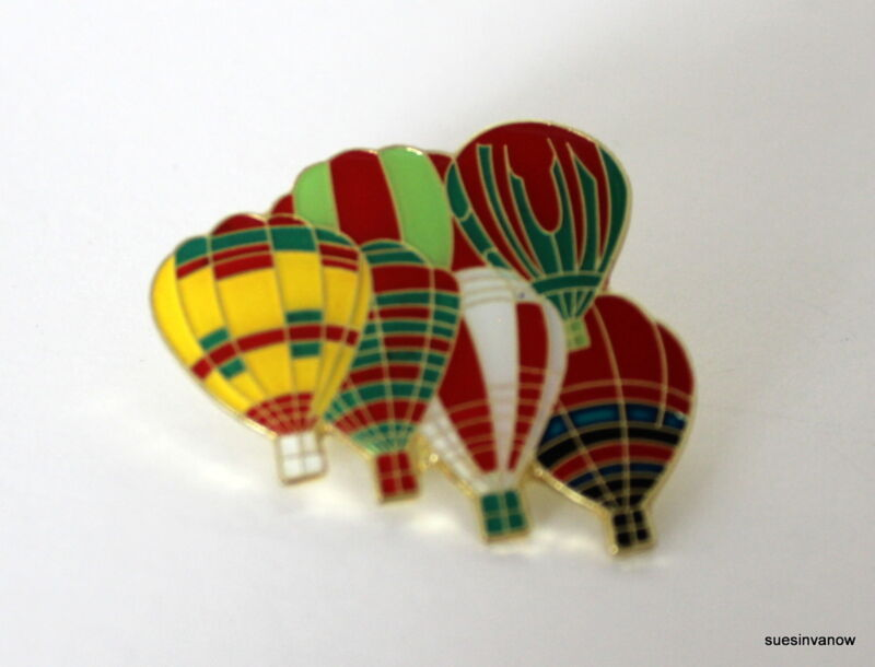 New 6 Hot Air Balloons Lapel Hat Pin Colorful Flight Tie Tack Group Balloon Fly