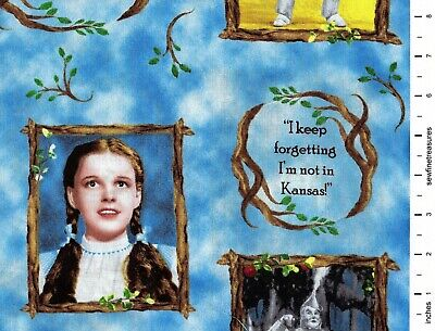 WIZARD of OZ Yellow Brick Road PHOTO VIGNETTES BLUE Frames Fabric By the 1/2 YD