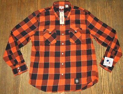 NEW Levi's MLB Giants Baseball Orange Buffalo Western Plaid Shirt Men's -