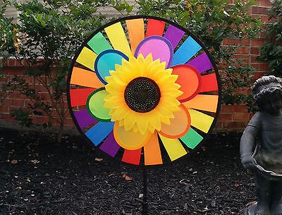 Windmill Wind Spinner Rainbow Wheel Whirligig Garden Lawn Yard Decoration](Rainbow Wind Spinner)