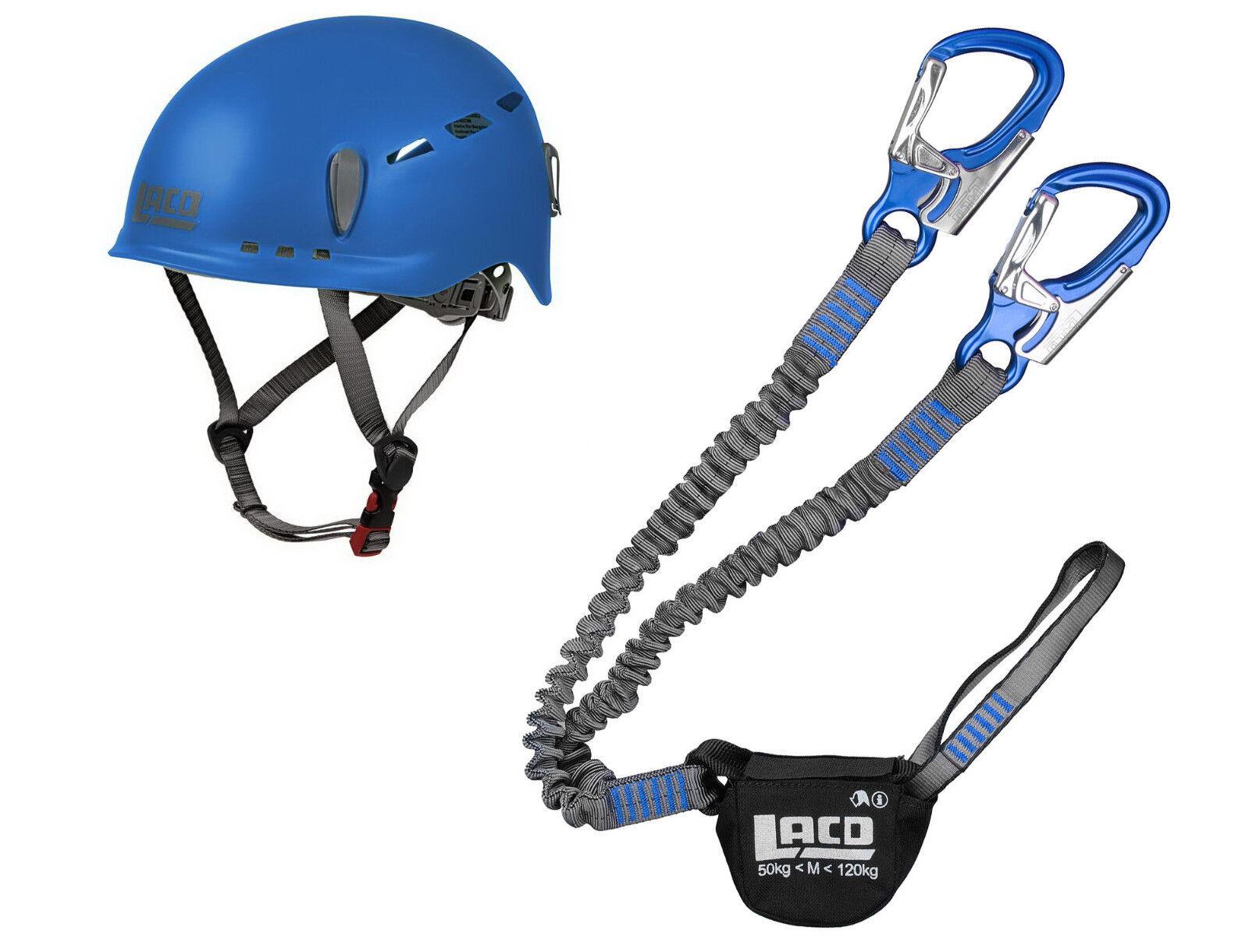 Klettersteigset LACD Pro Evo blue + Kletter-Helm Protector 2.0 blue