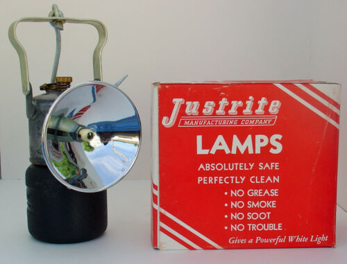 Miners JUSTRITE No. 2-500 CARBIDE HAND LAMP LANTERN w/ 2-501 Box NOS MINT!
