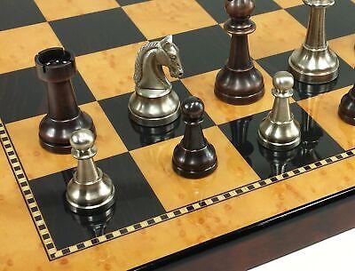 BRASS METAL Bronze & Silver Classic Staunton Chess Set W/ 18