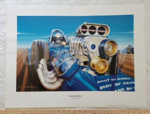 "Drag Racing Art Bakersfield Blues by David Peters Poster Print 19 1/2"" by 26"""