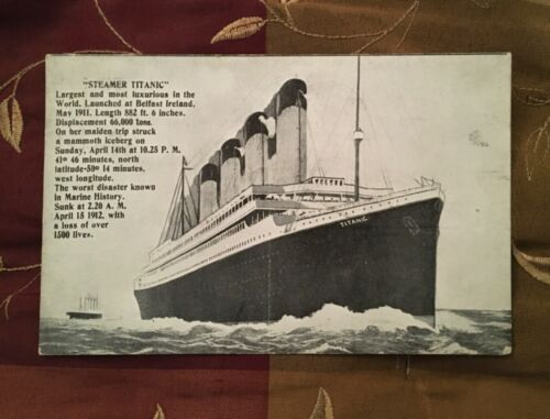 TITANIC POSTCARD STAMP POSTMARK MAY 2, 1912 WHITE STAR LINE MARITIME DISASTER