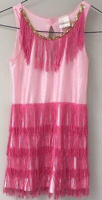 Roaring 20s Pink Flapper Girl Costume Dress Charleston Medium 8-10 Fringe Sequin](Pink Flapper Girl Costume)