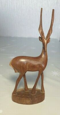 Vintage Wooden Hand Carved Gazelle Impala Antelope African figurine standing