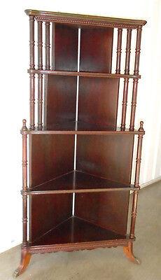 """Antique Vintage Hardwood Corner Display Shelf Etagere Cabinet 49"""" Tall"""
