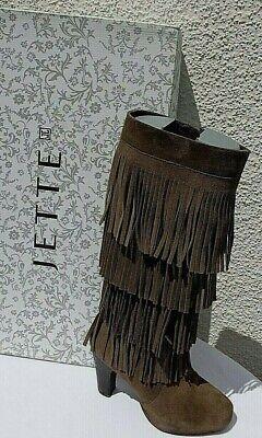 Sexy JETTE JOOP Pocahontas Fransenleder High Heel Boots Stiefel braun Gr. 36 TOP