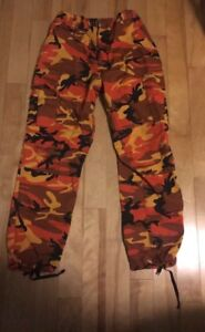 Orange,yellow,brown and black camo pants