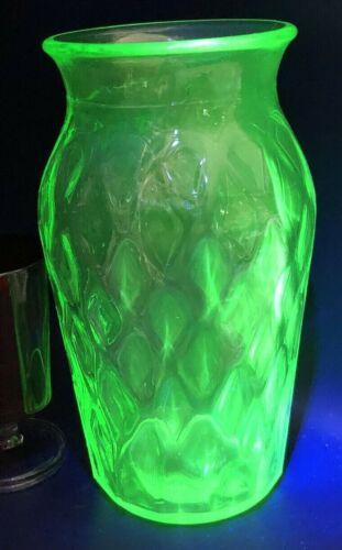 "Hazel Atlas Uranium Diamond Pattern Green Vase 7.5"" Tall Old Depression"