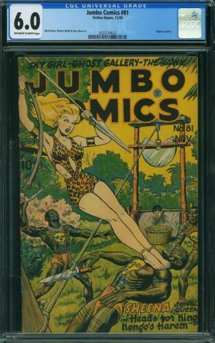 JUMBO COMICS 81 CGC 6.0 Sheena Jungle Queen Good Girl Art Baker 1945 Fiction