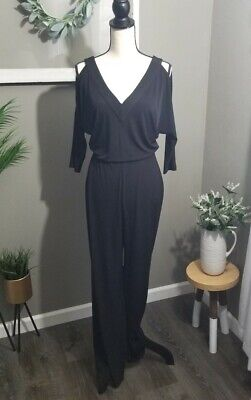 Small Jumpsuit Long Sleeved Cold Shoulder S Pantsuit Black Size 4 FREE SHIPPING