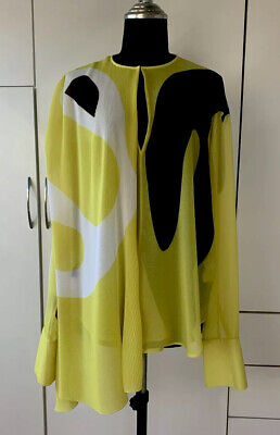 ISSA Designer Print Pleat Blouse Top In Yellow Brown Used