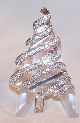 Rhinstones Swirl Christmas Tree Pin Brooch-Silver Tone-Clear Stones-NEW