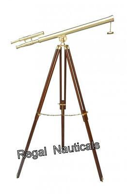 Marine Navy Nautical Brass Telescope Double Barrel With Floor Tripod Stand