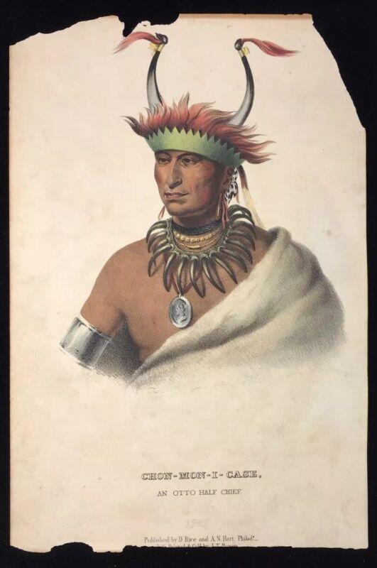 1858 N. AMERICAN OTTO HALF CHIEF CHONMONICASE COLOR LITHOGRAPH BOWEN - RICE HART