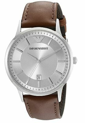 Emporio Armani Men's Dress Stainless Steel and Brown Leather Watch AR2463
