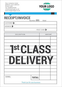 PERSONALISED A5 INVOICE BOOK / DUPLICATE / NCR / RECEIPT / ESTIMATE, 50 SETS/PAD