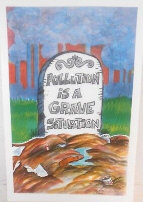 Rare 1971 Reese James Pollution is A Grave Disaster Poster Environmentalist WOW