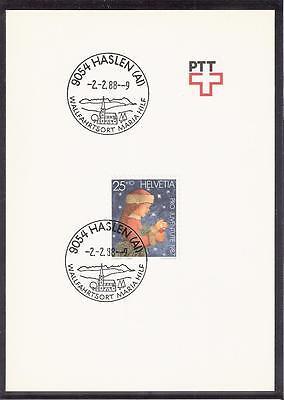 Schweiz PTT-Faltblatt Stempel 9054 Haslen (AI) Maria Hilf Mi 1359 PJ Weihnachten