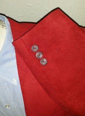 38R New SAKS 5th Avenue Sueded Smoking Evening Red Sport Coat Blazer Jacket men  - Red Smoking Jacket