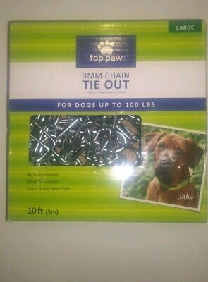 TOPPAW 10 FT Dog run (Pet) TIE OUT CHAIN BIG DOGS UP TO 100 LB TIEOUT TIE-OUT