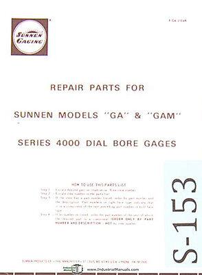 Sunnen Dial Bore Gages Ga Gam Series 4000 Repair Parts Manual