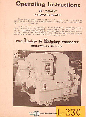 Lodge Shipley 30 T-matic Auto T Lathe Operations And Care Manual Year 1953