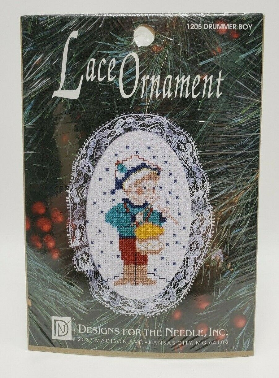 Counted Cross Stitch Lace Ornament Kit Christmas Drummer Boy