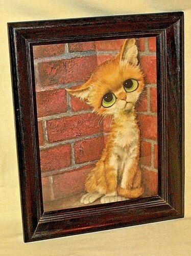 PITY KITTY PICTURE SAD BIG EYES TABBY CAT KITTEN WALL HANGING VINTAGE SEARS MOD.
