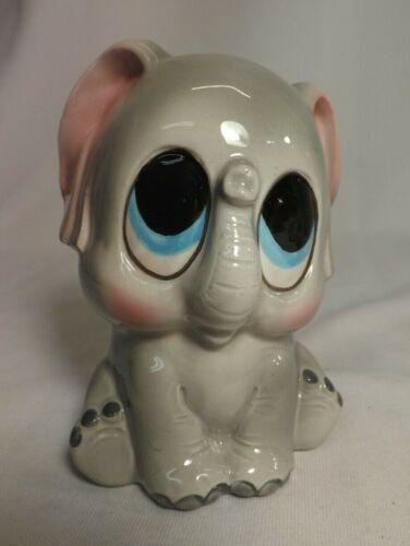 Vintage Ceramic Baby Elephant Coin Bank - BIG EYES
