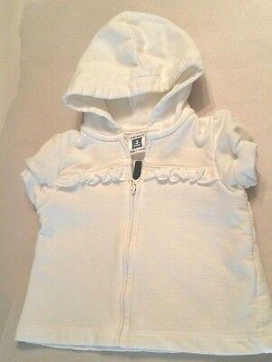 Zip Front Shirt Mädchen (Carter's White Short Sleeve Zip Front Jacket Hoodie Shirt Top Baby Girl's 3Mos)